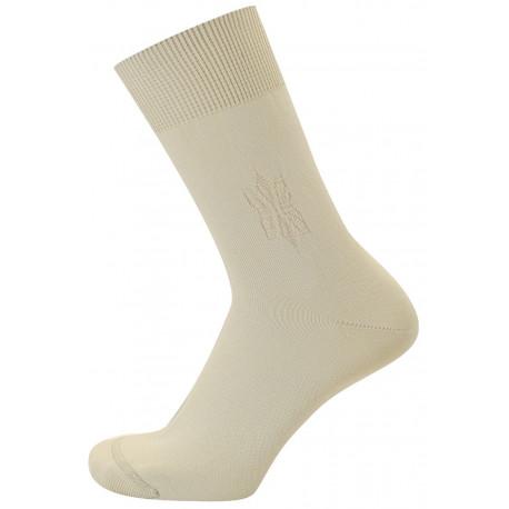 Světle béžová - MONET | Komfort - Hladké ponožky s decentním vzorkem na kotníčku. Špička má jemný a plochý šev. Kombinace materiálů s polypropylenem pomáhá odvádět pot od pokožky do vnějších vrstev ponožky.Ideální letní ponožky pro všechny, kdo trpí potivostí nohou.