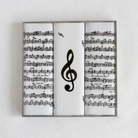 Pánské kapesníky noty - Pánské kapesníky s notami - sada 3 kusů - Pánské kapesníky s dekorem not a houslového klíče. V praktické krabičcejsou uloženy tři kusy bavlněných kapesníků vysoké gramáže. Kapesníky jsou sněhobílé, ručně potištěné notami a jeden výrazným dekorem velkého houslového klíče.