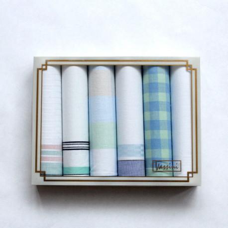 Dámské kapesníky v setu po 6 v průhledné krabičce