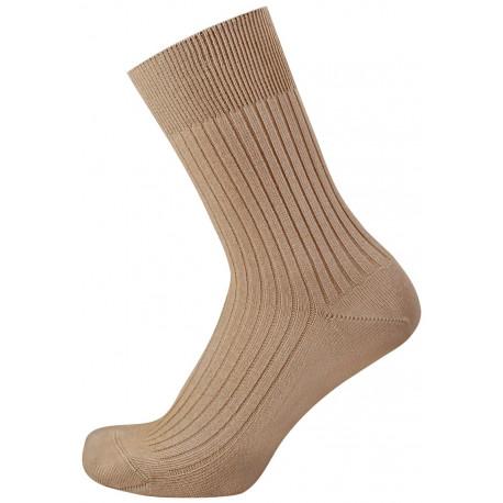 Středně béžová - FAJAN | Klasik - Žebrové ponožky s nesvíravým lemem. Česaná bavlna je velmi měkká a příjemná na nošení. Ve špičce je velmi plochý šev, který v botě netlačí. Na výběr až 10 barev od velikosti.